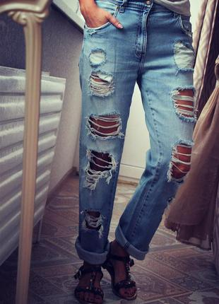 Рваные джинсы бойфренды wrangler