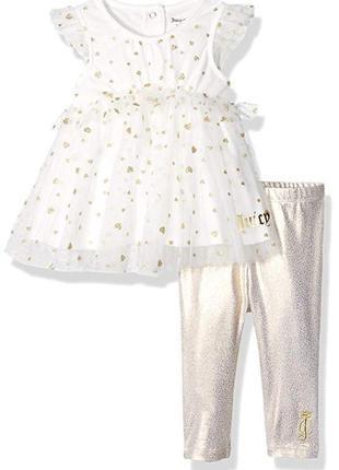 Костюм juicy couture туника и лосины на девочку 3-6,18 и 24 месяцев хлопок