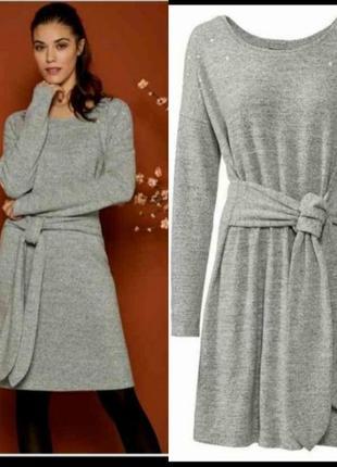 Стильное платье ангора с поясом, esmara , германия