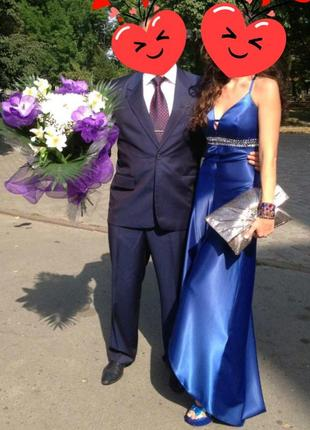 Вечернее платье, платье в пол, нарядное платье, синее, размер 38 (s),