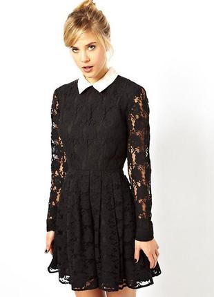 Гипюровое платье с воротником asos