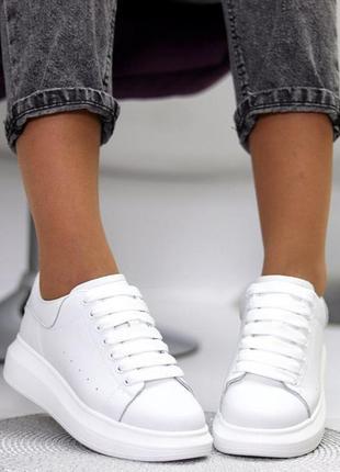 Кроссовки из натуральной белой кожи в стиле aleksander mcqueen