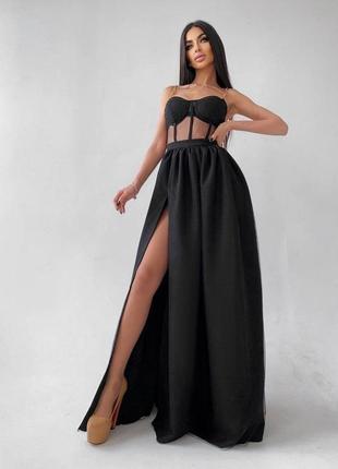 Платье - бюстье с чашечками и элементами корсета вечернее в пол праздничное длинное