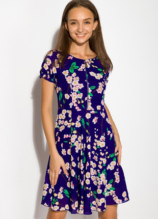 Платье женское в цветочек 964k021 индиго