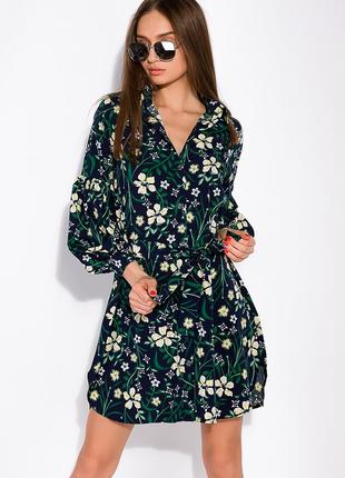 Цветочное платье с объемными рукавами  темно-синий принт