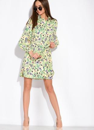 Цветочное платье с объемными рукавами  лимонный / принт2 фото
