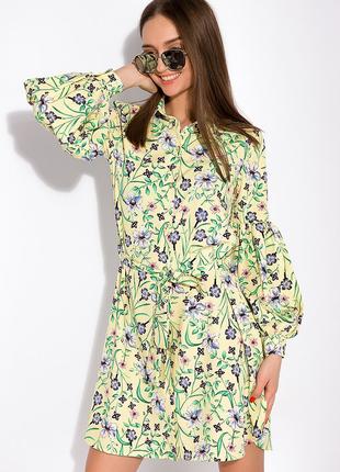 Цветочное платье с объемными рукавами  лимонный / принт3 фото