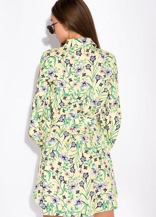 Цветочное платье с объемными рукавами  лимонный / принт4 фото