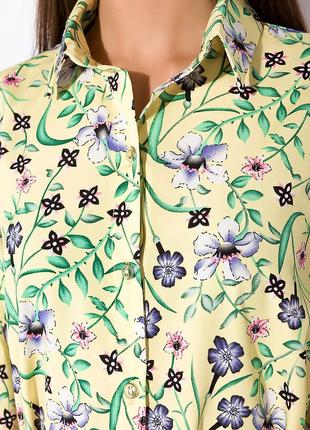 Цветочное платье с объемными рукавами  лимонный / принт5 фото