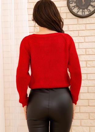 Свитер женский укороченный 129r5355 цвет красный3 фото