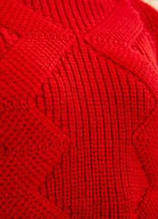 Свитер женский укороченный 129r5355 цвет красный4 фото