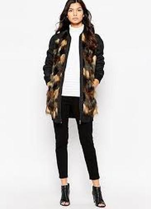 Стильная удлиненная куртка бомбер, пальто бомбер с шерстью в составе, демисезон