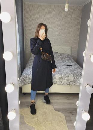 Новый черный тренч, плащ, пальто демисезон с поясом
