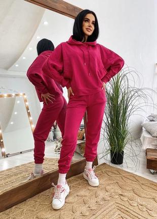 Стильный прогулочный костюм цвет малиновый