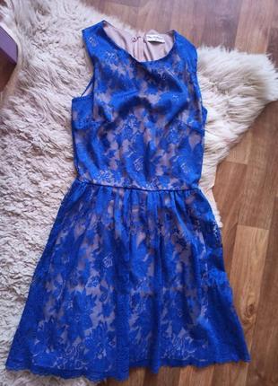 Синее платье кружево миди размер с красивое нарядное