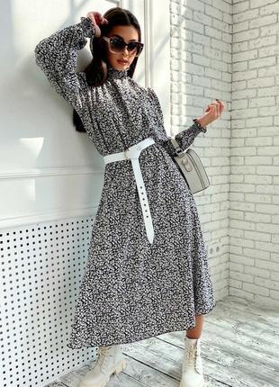 Женское шифоновое черное платье-миди под горло (1681-1. 4584 svtt)5 фото