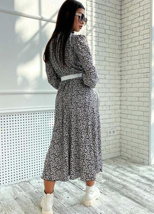 Женское шифоновое черное платье-миди под горло (1681-1. 4584 svtt)7 фото