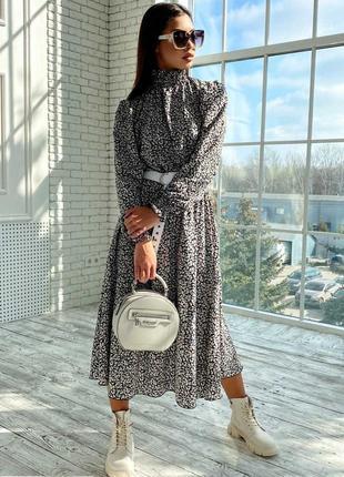 Женское шифоновое черное платье-миди под горло (1681-1. 4584 svtt)4 фото