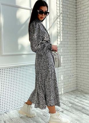 Женское шифоновое черное платье-миди под горло (1681-1. 4584 svtt)3 фото