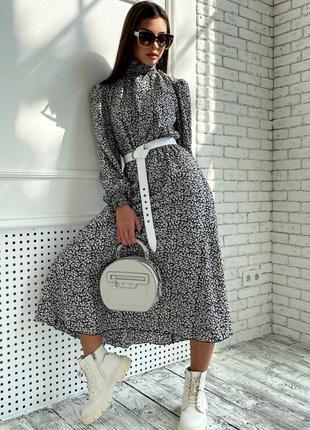 Женское шифоновое черное платье-миди под горло (1681-1. 4584 svtt)2 фото