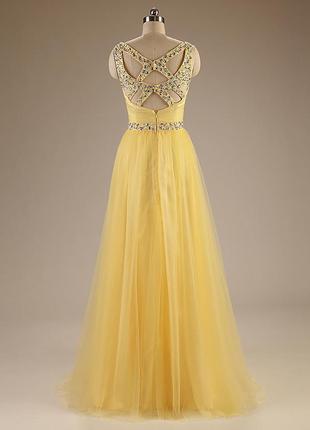 Вечернее пышное платье на свадьбу,выпускной красивое с пайетками золотисто желтое dl-888