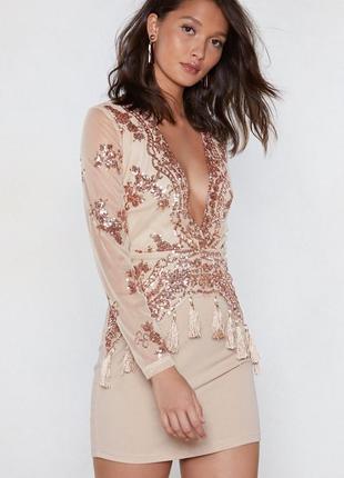 Распродажа ❤😍роскошное платье в пайетки boohoo
