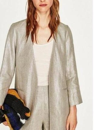 Льняное пальто  блейзер  лён zara