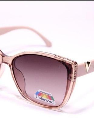 Женские очки с поляризацией пудровый, квадратные
