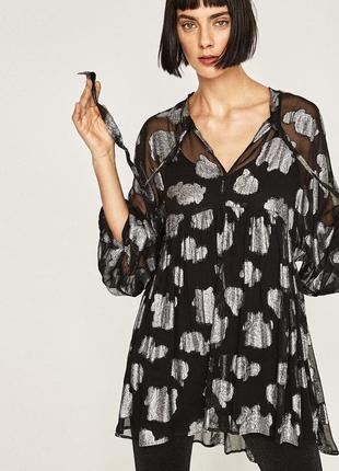 Обворожительное нарядное платье туника модного испанского бренда zara.