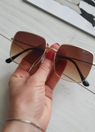 Квадратные очки, очки солнечные квадраты, коричневые линзы