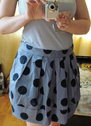 Сильна спідниця /юбка / в горошок з кишенями