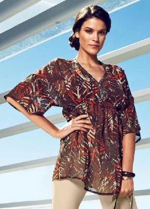 Sale 50%! шифоновая пляжная туника-блуза в принт tcm tchibo