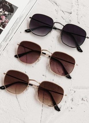 Очки шестиугольники прямоугольные градиент женские солнечные солнцезащитные винтаж