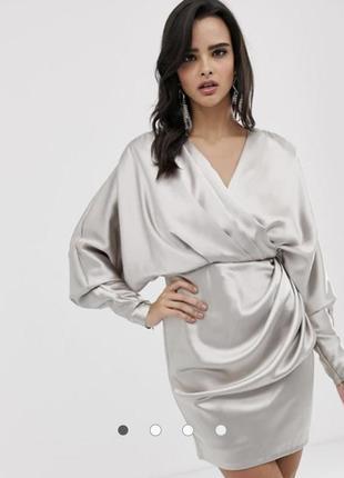 Атласное платье мини с запахом asos edition