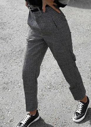 Теплые брюки шерсть в клетку