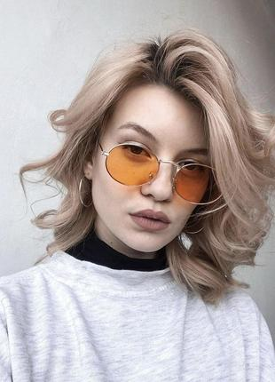 Очки солнцезащитные солнечные женские овалы винтаж овальные оранжевые желтые