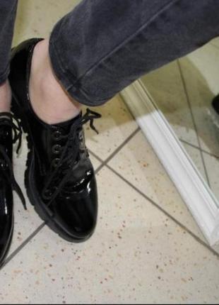 Туфли- оксфорды лаковые ,кожа ,крутая модель