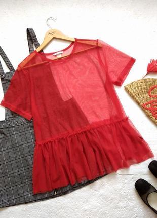 Красная прозрачная блузка сетка h&m