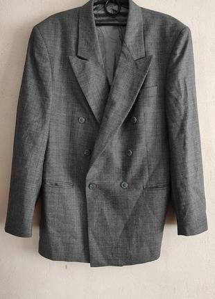 Серый натуральный шерстяной пиджак, блейзер , 100% шерсть