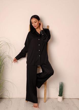 Шелковый комплект рубашка и штаны свободного кроя