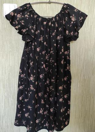 Сукня befree платье мини чёрное цветочный принт