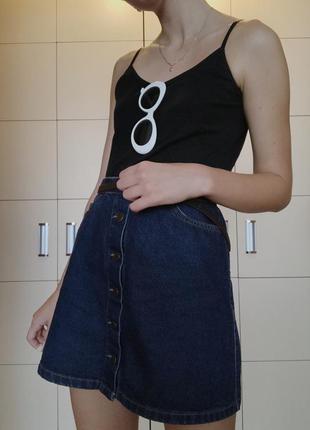 Джинсовая юбка на пуговицах с высокой талией