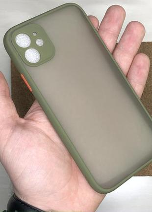 Чехол зеленый противоударный avenger / likgus full camera на для айфон iphone 11 накладка