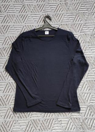 100% хлопок темно-синий лонгслив м, футболка с длинным рукавом