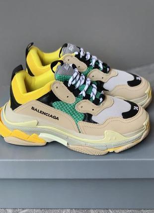 Кроссовки triple s beige/green/yellow