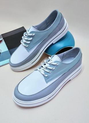 Шкіряні туфлі на шнурівці, кожаные туфли на шнуровке