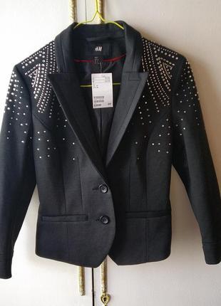 Пиджак, жакет, пиджак с камнями, пиджак со стразами, жакет укороченный