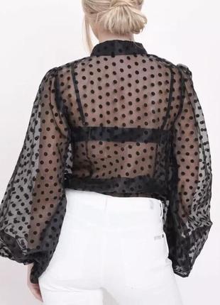 Блузка прозрачная в горошек. размер м