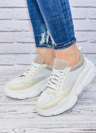 Кожаные облегченные кроссовки с перфорацией от производителя 36-40р шкіряні кросівки