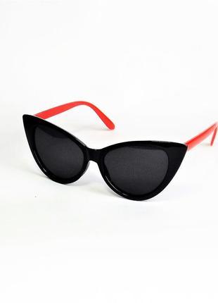 Очки солнцезащитные женские чёрно- красные лисички ws 5040 кошачий глаз